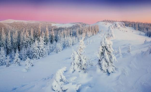 山の幻想的な冬の風景。魔法の夕日、 無料写真