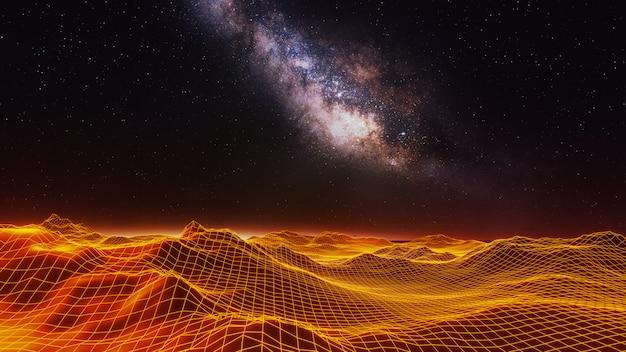 ファンタジー宇宙と空間の背景、3 dのレンダリング Premium写真