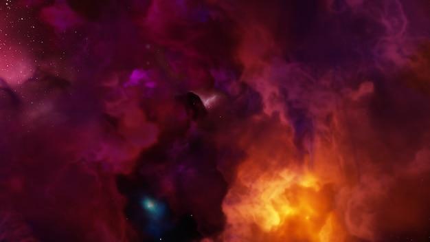 Фэнтези вселенная и космический фон, 3d визуализация Premium Фотографии