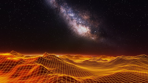 Fantasy universe and space background  , 3d render Premium Photo