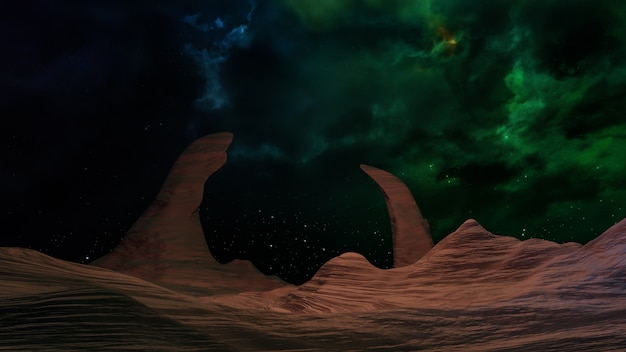 Fantasy universe space background  ,volumetric lighting. 3d render Premium Photo