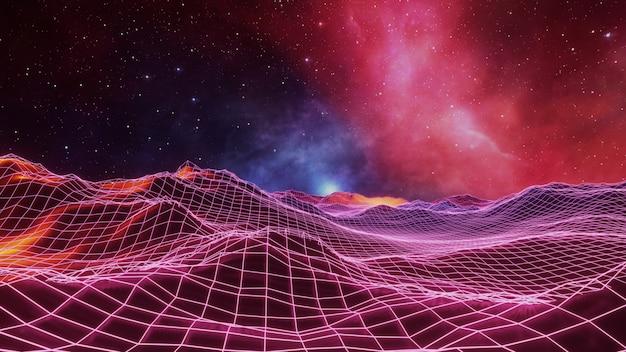 Фэнтези вселенная космический фон, объемное освещение. 3d визуализация Premium Фотографии