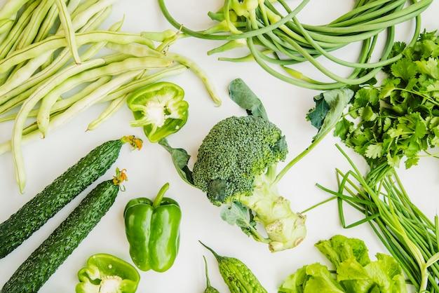 Farm fresh green vegetables isolated on white background Free Photo