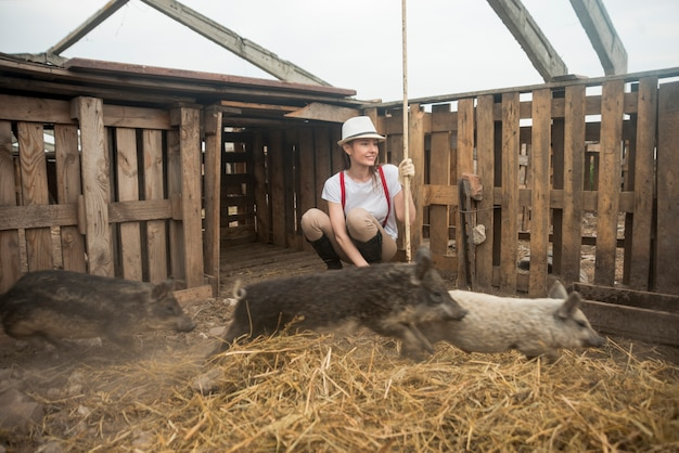 Farmer taking care of pigs in a sty Free Photo