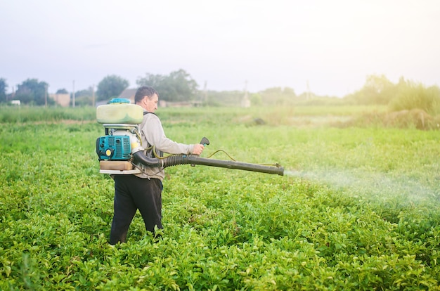 A farmer with a mist sprayer blower processes the potato plantation from pests and fungus infection Premium Photo