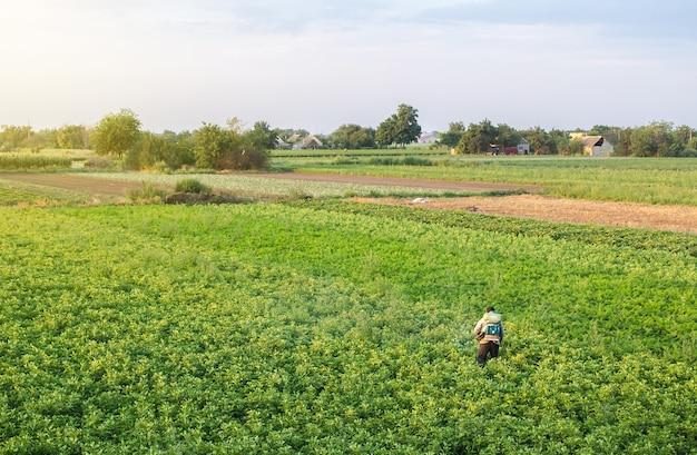 Farmer with a mist sprayer blower processes the potato plantation. Premium Photo
