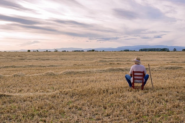 Farmer with straw hat and hoe sitting on a red chair in the middle of the field. Premium Photo