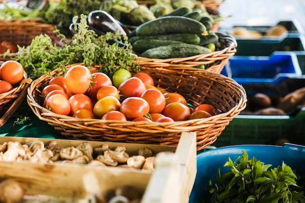 Farmers' food market stall with variety of organic vegetable Free Photo