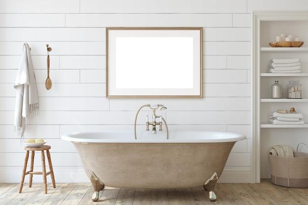 Ванная комната в сельском доме со стеной из шипа. макет интерьера и каркаса. 3d визуализация. Premium Фотографии