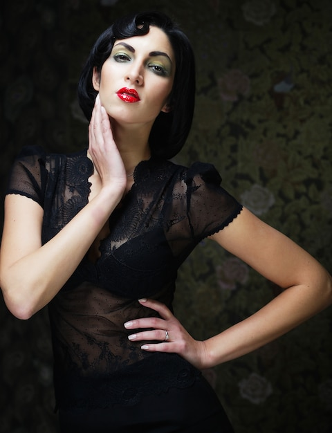 Fashion art girl portrait. vamp style. glamour vampire woman. Premium Photo