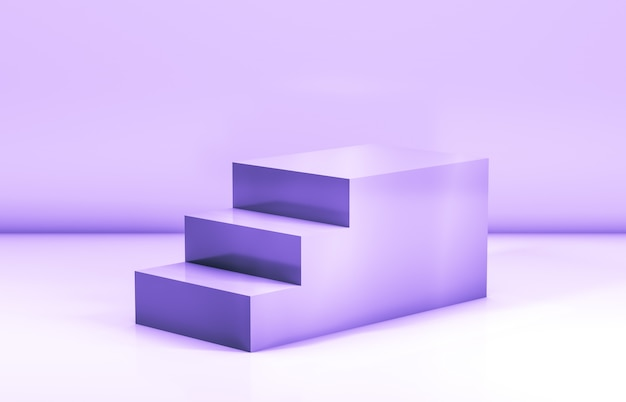 Fashion beauty stairs for cosmetic product display. 3d rendering. Premium Photo