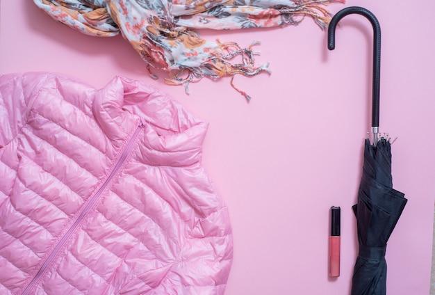 Fashion. fashionable sweater, scarf, bag, perfume, accessories, shoes on white background Premium Photo