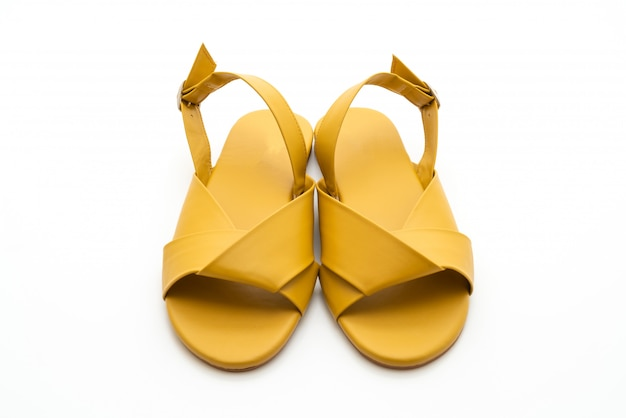 Fashion female and woman leather sandals with slingback Premium Photo