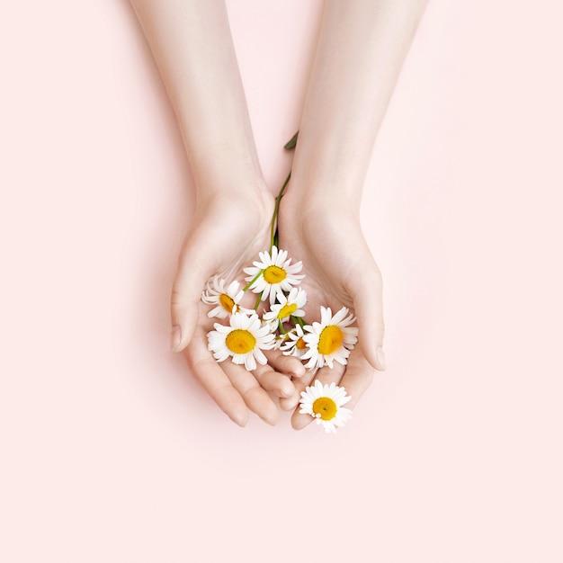 Fashion hand art chamomile natural cosmetics women Premium Photo