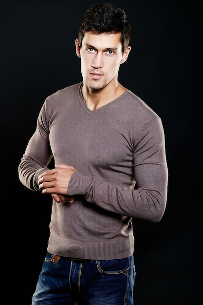 Free Photo Fashion Portrait Of Young Caucasian Man Handsome Model In Casual Clothes Posing In Studio Attractive Male