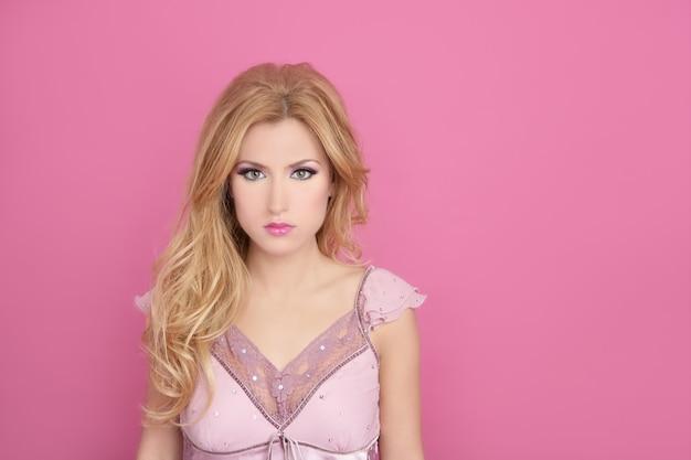 Fashion romantic blonde over pink barbie doll style Premium Photo