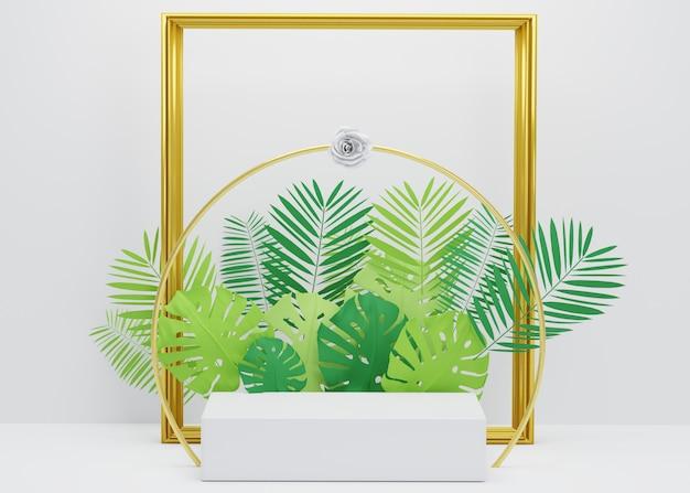 熱帯のヤシの葉、ゴールデンフレーム、モンステラ植物のファッションショーステージ表彰台。製品ショーの空のシーン。夏の時間の背景 Premium写真
