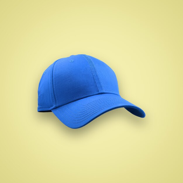 Fashion and sports blue cap isolated on beautiful pastel color background, with clipping path. Premium Photo