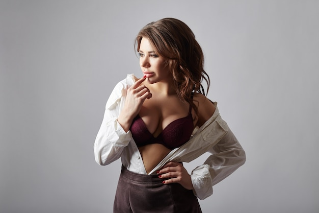 Fashion woman in lingerie and white shirt Premium Photo