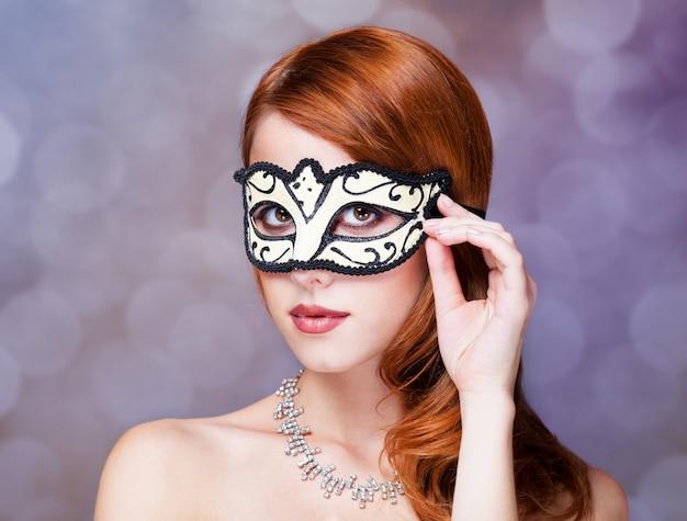 Fashion women with mask. Premium Photo