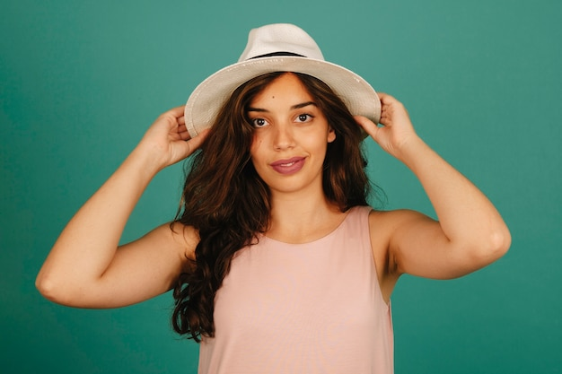 Fashionable girl with hat Free Photo