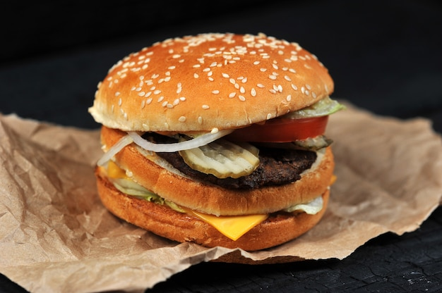 Fast food burger with cheese and beef Premium Photo