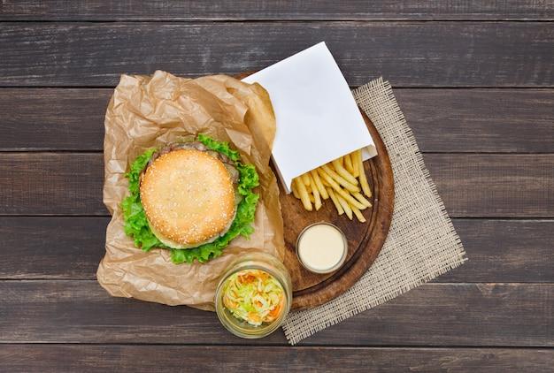 Fast food dish top Premium Photo