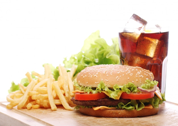Fast food on the table Free Photo