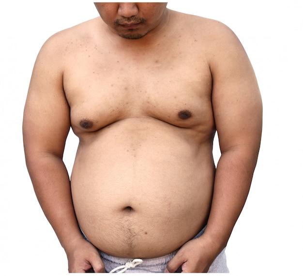 Fat body of asian man on white background Premium Photo
