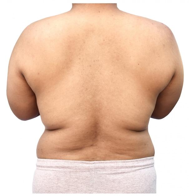 Fat body of man on white background Premium Photo