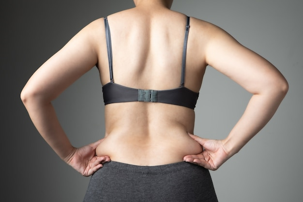 Fat woman cellulite belly unhealthy Premium Photo