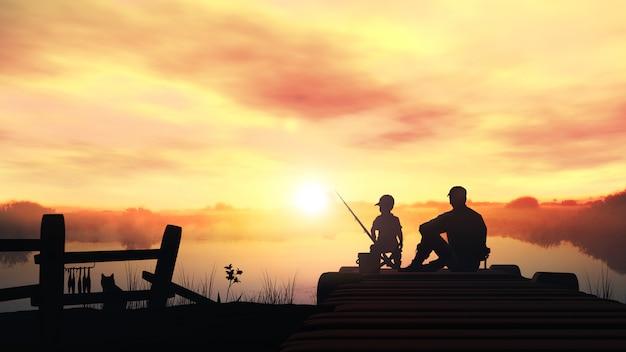 朝の釣りの父と息子 Premium写真