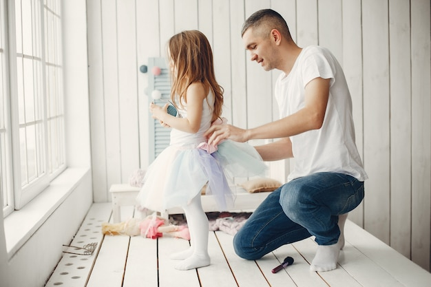 Father playing with a little daughter Free Photo