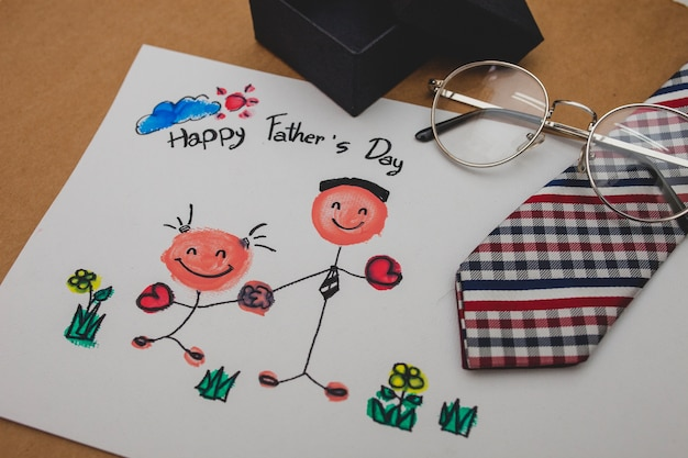 Father's day drawing with necktie and glasses Free Photo