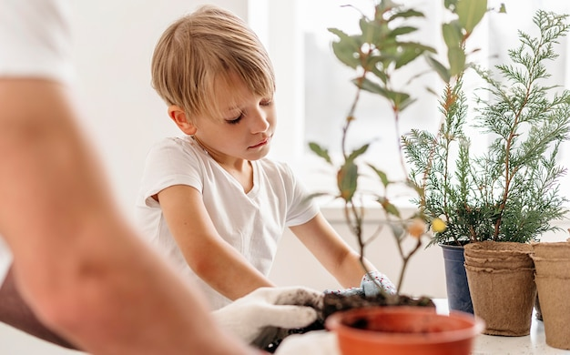 Father and son planting plants together at home Free Photo