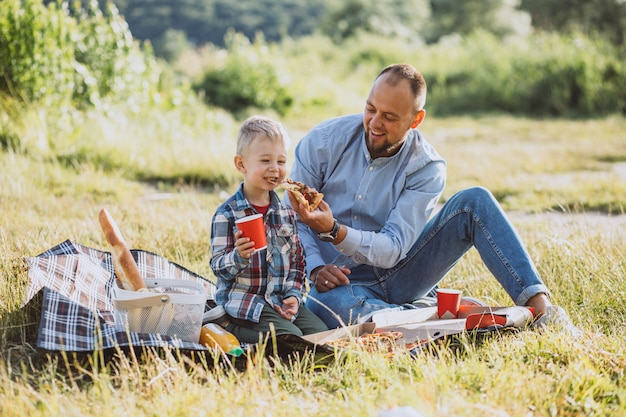 Father with his son having picnic in the park Free Photo