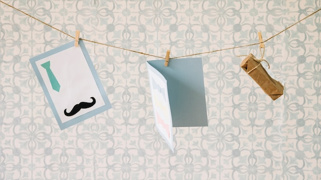 Fathers day composition with clothesline Free Photo