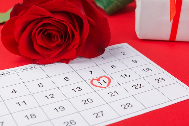 February 14 on calendar and decorations for valentine's day. Premium Photo