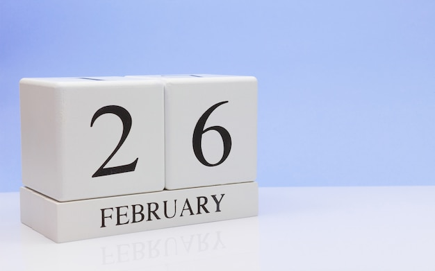 February 26st. day 26 of month, daily calendar on white table. Premium Photo