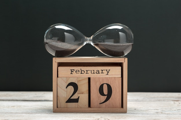 February 29th. day 29 of february month, calendar on wooden. winter time Premium Photo