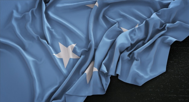 Federated states of micronesia flag wrinkled on dark background 3d render Free Photo