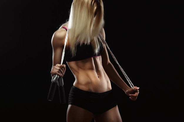 Female athlete with a rubber band Free Photo