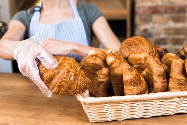 Female baker's hand wearing plastic glove taking baked croissant from the basket Free Photo