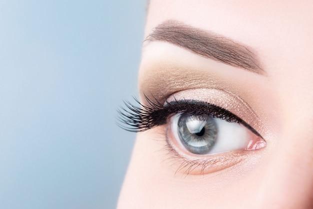 Female blue eye with long eyelashes, beautiful makeup close-up. Premium Photo