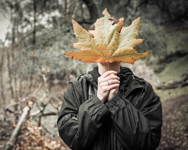 숲 한가운데 서있는 동안 큰 단풍 잎으로 얼굴을 가리는 여성 무료 사진