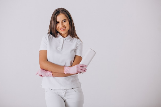 Female dentist with dentistry tools isolated Free Photo