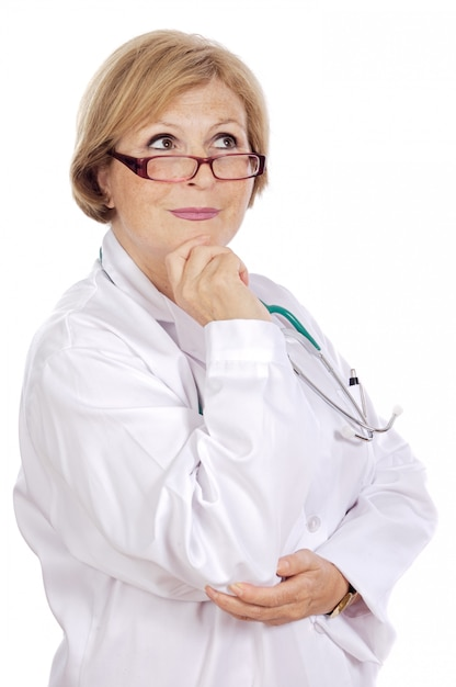 Female doctor thinking a over white background Premium Photo