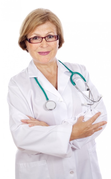 Female doctor in a white medical dressing gown  a over white background Premium Photo