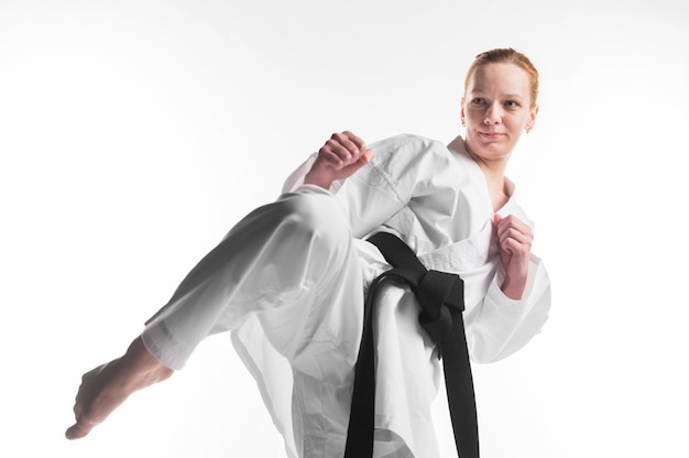 Female fighter practicing close up Free Photo