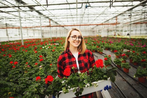 Female florist holding flower pot in greenhouse Premium Photo